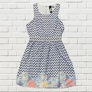 Trixxi navy white chevron fit and flare dress M